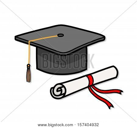 Graduation Cap Diploma Hat Education. A hand drawn vector cartoon illustration of a graduation cap and a diploma.