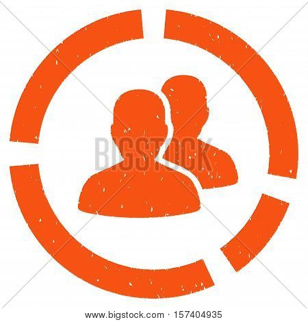 Demography Diagram grainy textured icon for overlay watermark stamps. Flat symbol with dirty texture. Dotted vector orange ink rubber seal stamp with grunge design on a white background.
