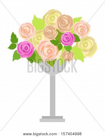 Wedding bouquet of pink, white and green roses in vase isolated on white. Wedding decoration. Romantic gentle element for wedding design. Wedding decor fashion interior. Decoration with roses. Vector