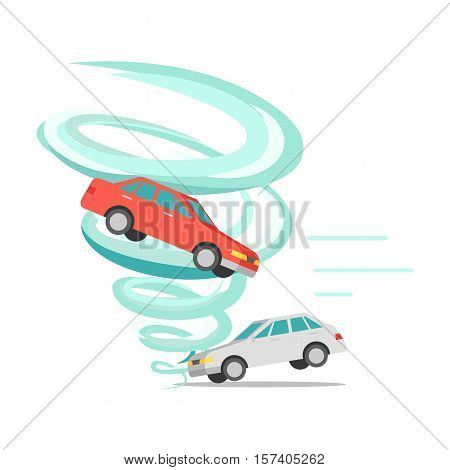 Tornado twisted red car icon. White car stands on ground. Tornado ruins everything. Natural disaster. Deadly strong wind damages machines and nature. Catastrophe with whirlwind. Vector illustration