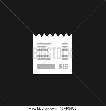Receipt vector icon isolated on dark black background, invoice flat illustration, paper bill cheque, flat black and white style pictogram