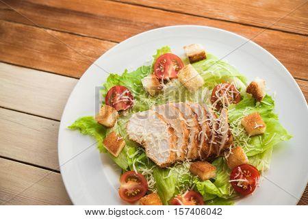 Tasty Dinner With Cesar Salad