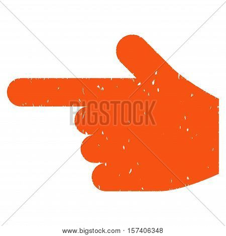 Hand Pointer Left grainy textured icon for overlay watermark stamps. Flat symbol with unclean texture. Dotted vector orange ink rubber seal stamp with grunge design on a white background.