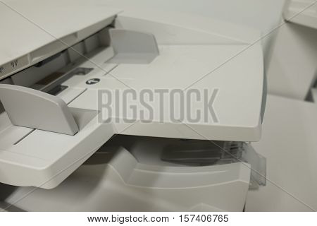 close up of multifunction printer office copy machine
