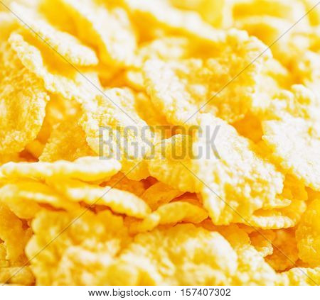 View of  yellow corn flakes. Closeup view.