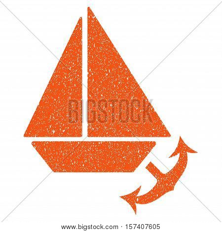 Seaport grainy textured icon for overlay watermark stamps. Flat symbol with dust texture. Dotted vector orange ink rubber seal stamp with grunge design on a white background.