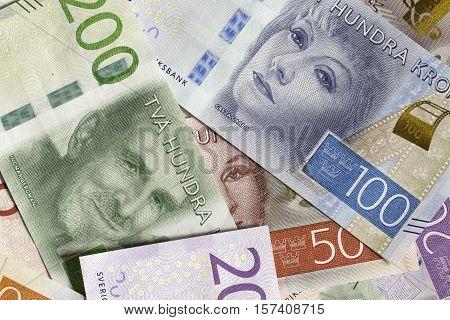 Swedish Currency SEK (Notes) Close Up macro.