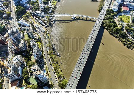 Brisbane Pacific Motorway and South Bank view from above