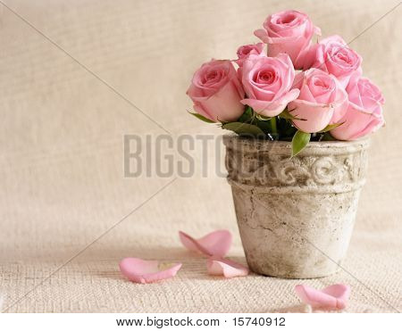 rose flowers in old-fashioned flower pot