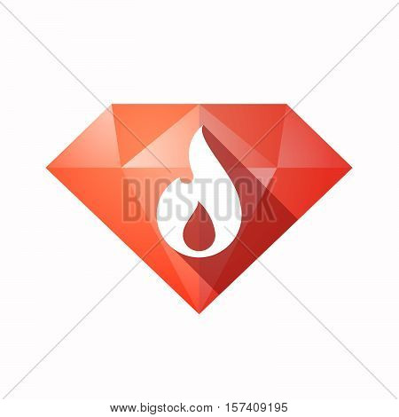 Isolated Diamond With A Flame