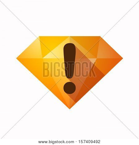 Isolated Diamond With An Exclamarion Sign
