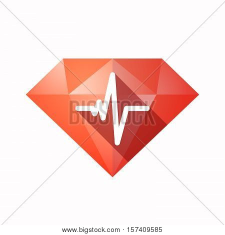 Isolated Diamond With A Heart Beat Sign