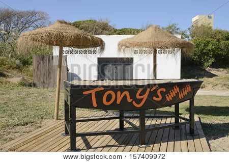 MARBELLA, SPAIN - APRIL 9, 2016: Boat for grilling fishs in a restaurant of the beach of Marbella Andalusia Spain
