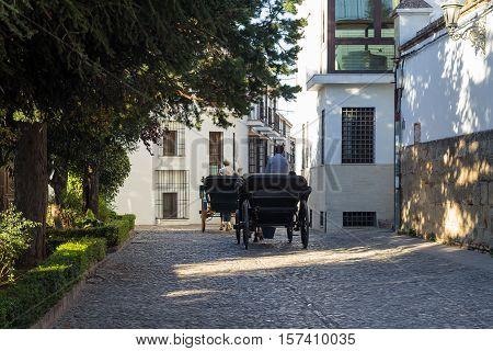 Horse car in Ronda, Malaga, Spain street.