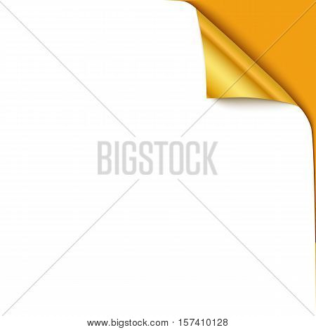 Curled corner vector illustration, isolated white paper gold curl. Top corner flip over on yellow background