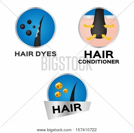 hair dyes and hair conditioner logo, icon and vector . anatomy