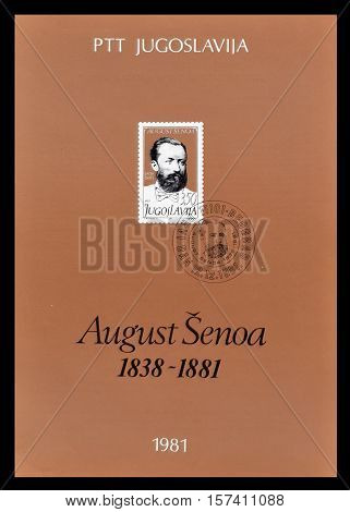 YUGOSLAVIA - CIRCA 1981 : Cancelled First Day Sheet printed by Yugoslavia, that shows Portrait of August Senoa.