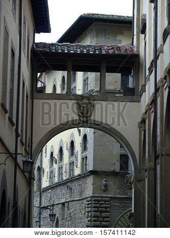 Picturesque street in antique center Arezzo Tuscany