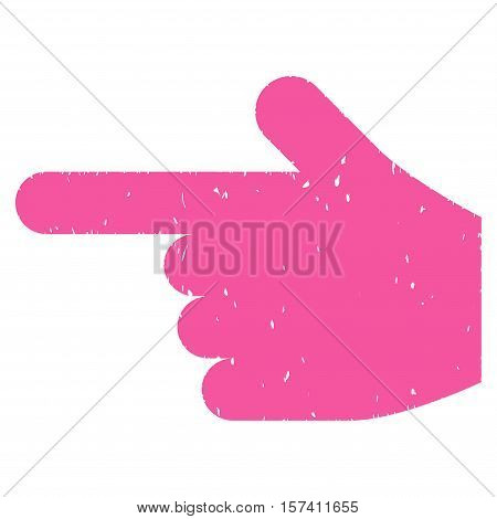 Hand Pointer Left grainy textured icon for overlay watermark stamps. Flat symbol with dust texture. Dotted vector pink ink rubber seal stamp with grunge design on a white background.