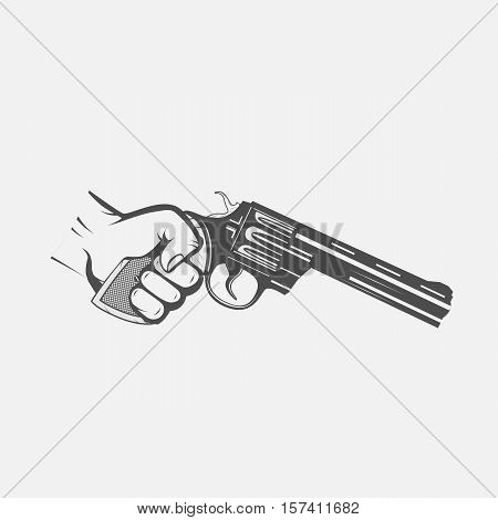gun revolver in hand. Vintage image. For tattoo web shooting club and label