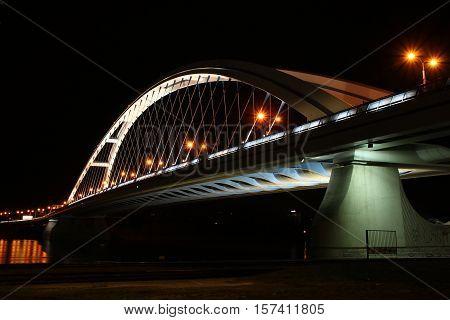 Night Apollo bridge in Bratislava over Dunaj