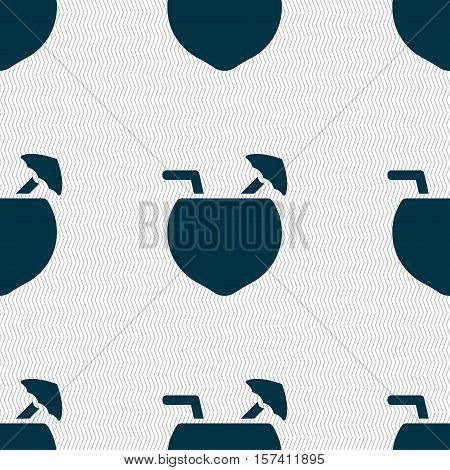 Coconut Cocktail Icon Sign. Seamless Pattern With Geometric Texture. Vector