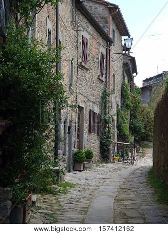 A street in Cortona the Tuscan town of Etruscan origin