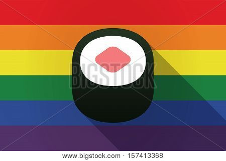Long Shadow Lgbt Flag With A Piece Of Sushi Maki