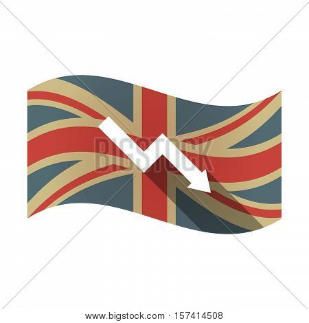 Isolated Uk Flag With A Descending Graph