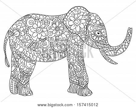 Elephant animal coloring book for adults vector illustration. Anti-stress coloring for adult. Zentangle style. Black and white lines. Lace pattern