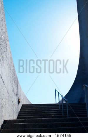 Stairs leading to Afrikaans Language Monument shot on blue sky background in Paarl Western Cape South Africa poster