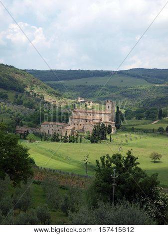 Abbey near Montalcino in Tuscany Italy
