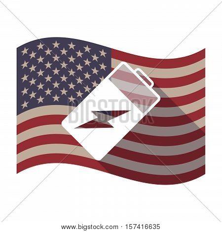 Long Shadow Usa Flag With A Battery