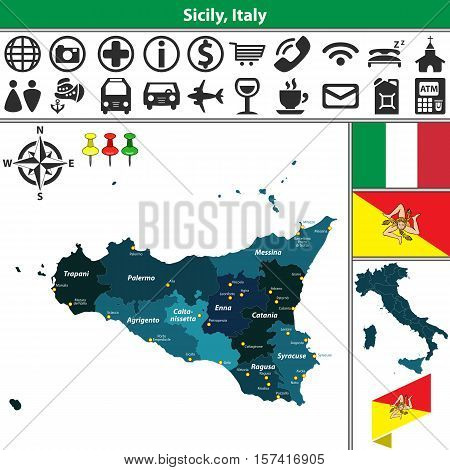 Sicily With Regions, Italy