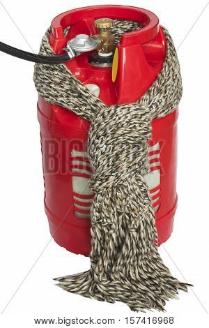 red gas bottle tied with a scarf