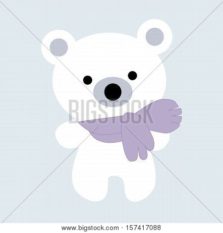 Icon color baby Christmas cute little white polar bear on a blue background. Baby vector illustration. Baby shower