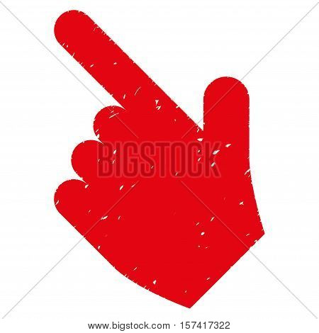 Hand Pointer Left Up grainy textured icon for overlay watermark stamps. Flat symbol with dirty texture. Dotted vector red ink rubber seal stamp with grunge design on a white background.