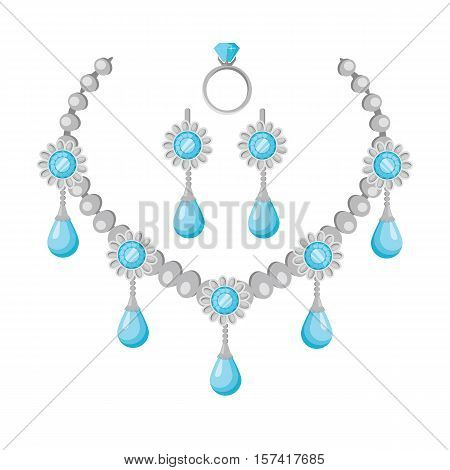 Necklace of precious stones vector in flat design. Beautiful jewelry, with gems. Romantic gift on anniversary. Illustration for jewelry store advertising. Isolated on white background.