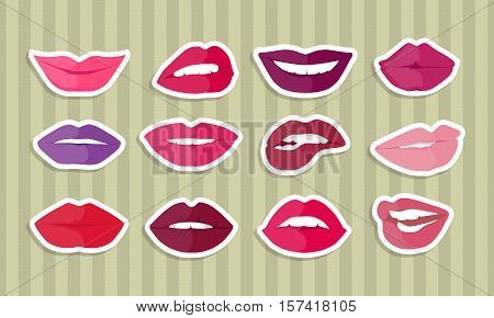 Set of lips with expression of emotions. Comic funny emoticons expressing anger, happiness, sadness, joy, surprise, wonder, amazement. Different mood states collection isolated on white. Vector