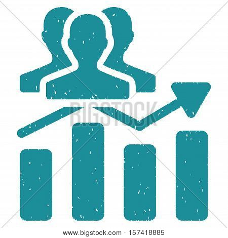 Audience Chart Trend grainy textured icon for overlay watermark stamps. Flat symbol with dust texture. Dotted vector soft blue ink rubber seal stamp with grunge design on a white background.