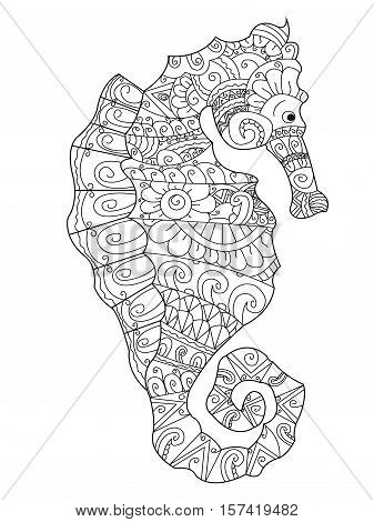 Sea horse coloring book for adults vector illustration. Anti-stress coloring for adult. Zentangle style. Black and white lines. Lace pattern