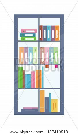 Office bookcase with folders on shelves. Colored folders with documents on shelves. Bookcase icon. Furniture element for office interior. Isolated object on white background. Vector illustration.