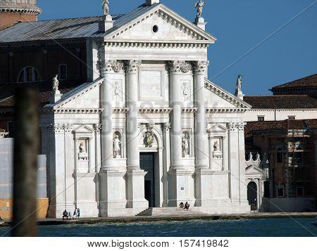Venice - basilica of San Giorgio Maggiore. San Giorgio Maggiore is a basilica in Venice Italy designed by Andrea Palladio and located on the island of San Giorgio Maggiore.