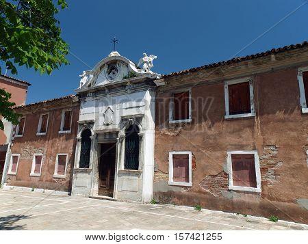 Garibaldi street near vaporetto station at Murano Island Italy