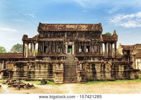 Library Building Of Complex Angkor Wat In Siem Reap, Cambodia
