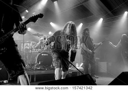 SOUTHAMPTON, UK, October 31  2016: John Tardy vocalist with American death metal band Obituary,  performing live at the Engine Rooms, Southampton, Hampshire, UK