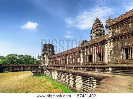 Wall Of Gallery And One Of Towers Angkor Wat Temple, Cambodia