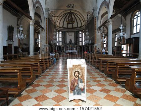 VENICE, ITALY - MAY 23, 2010: Venice - st. Peters church from Murano island - interior