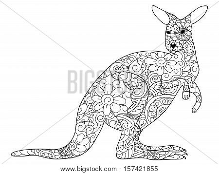 kangaroo animal coloring book for adults vector illustration. Anti-stress coloring for adult. Zentangle style. Black and white lines. Lace pattern
