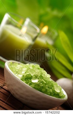bowl of herbal bath-salt